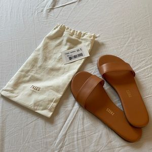 TKEES Alex slide sandals in Terra Cotta